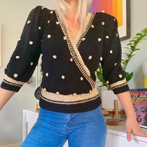 80s does 40s black knit billow sleeve sweater S